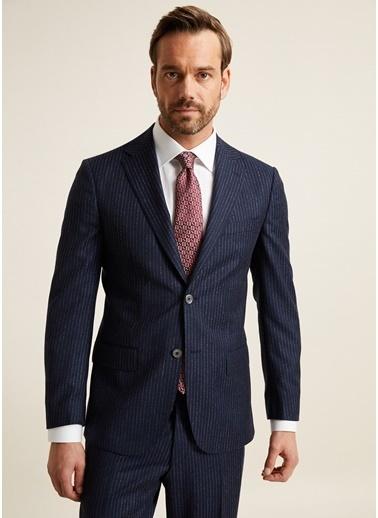 Bisse PTK20K20210 Regular Fit 6 Drop Platinum Çizgili Takım Elbise Lacivert